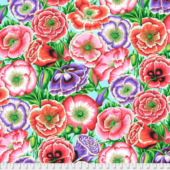 POPPY GARDEN Pink Philip Jacobs PWPJ095.PINK Kaffe Fassett Collective  1/2 yd - Multiples cut continuously Item