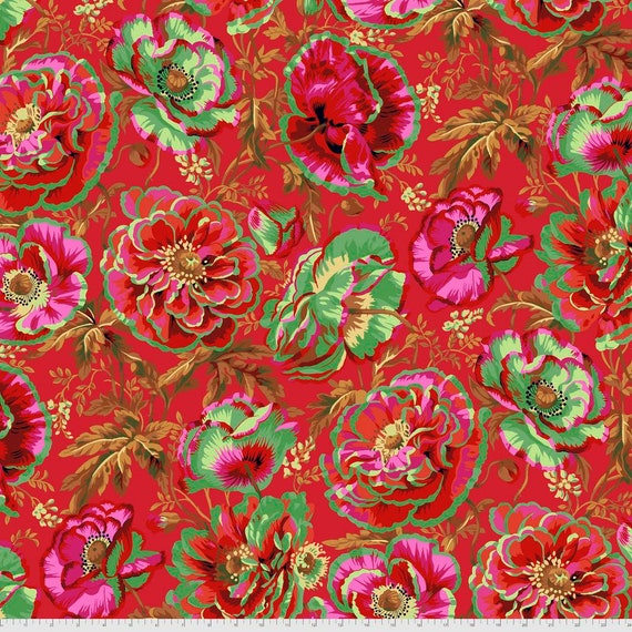 DOROTHY RED Philip Jacobs Kaffe Fassett Collective -  - Sold in 1/2 yd increments  - Multiples cut continuous