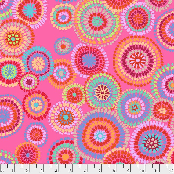 MOSAIC CIRCLES Pink PWGP176  Kaffe Fassett -  1/2 yd - Multiples cut one length  - USA based retailer