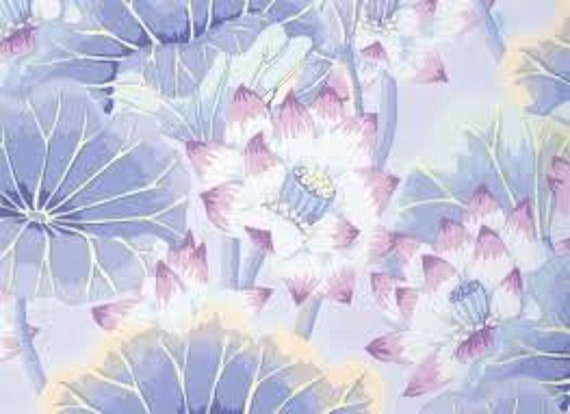 LAKE BLOSSOMS Sky Blue Pastel  Kaffe Fassett Collective - Sold in 1/2 yd increments - Multiple units cut as one length