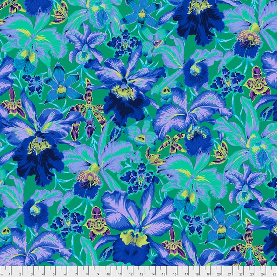 ORCHIDS BLUE PWPJ092.BLUEX Philip Jacobs Kaffe Fassett Collective - Sold in 1/2 yard increments - Multiple units cut as one length