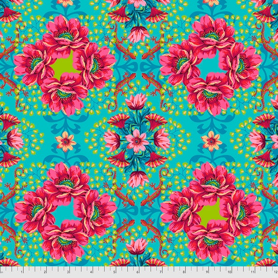 PREORDER June/July delivery GECKO TURQUOISE - Magicountry by Odile Baileou - Sold in 1/2 yd increments - Multiple units cut one length
