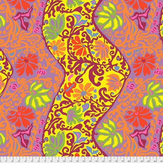 BALI BROCADE YELLOW pwbm069 Brandon Mably Kaffe Fassett Collective -  1/2 yd - Multiples cut as one length - Multiples cut in one length