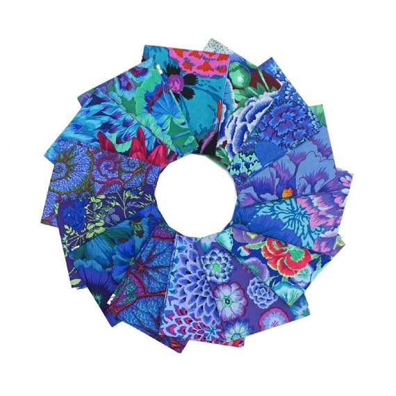 COOL BLUE FQ Pack - 14 x Fat Quarters - Free Shipping - Kaffe Fassett Collective fabrics