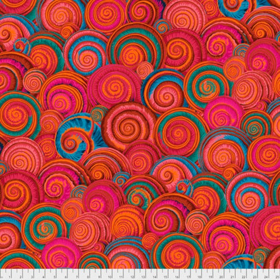 SPIRAL SHELLS ORANGE Red PWPJ073 Philip Jacobs Kaffe Fassett Collectives Sold in 1/2 yd increments