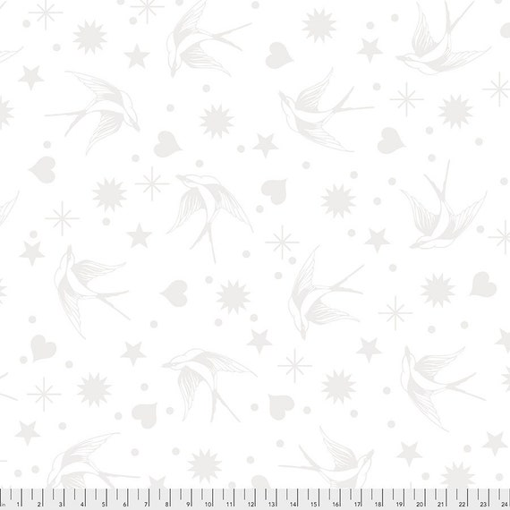 1/2 yd FAIRY FLAKES - Paper - White - Linework - Tula Pink  pwtp157.paper