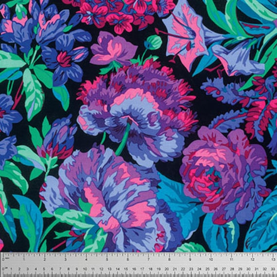VOLUPTUOUS BLACK PWPJ083 Philip Jacobs Kaffe Fassett Collective  Sold in 1/2 yd increments