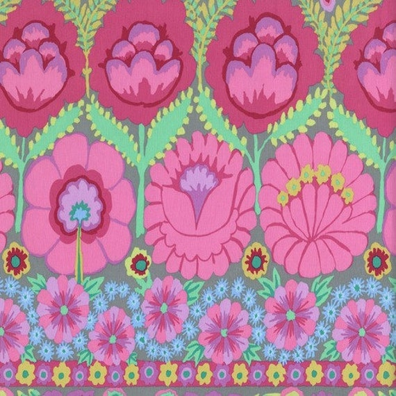 EMBROIDERED FLOWER PINK  - Artisan - Kaffe Fassett -Sold by the 1/2 yd - Multiples cut as one length