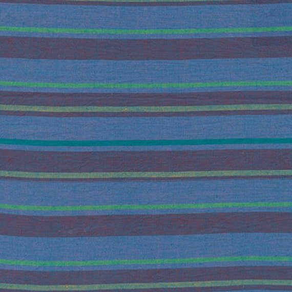 ALTERNATING STRIPE  BLUE Woven walterx.bluex Kaffe Fassett fabric sold in 1/2 yard increments