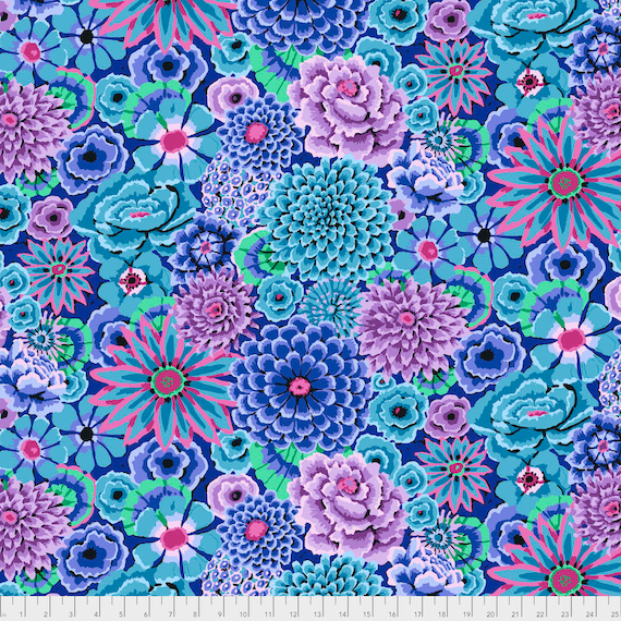 ENCHANTED BLUE Kaffe Fassett PWGP172  1/2 yd - Multiples cut continuously