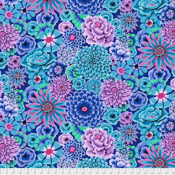 1/2 yd ENCHANTED BLUE Kaffe Fassett PWGP172  - Sold in 1/2 yd increments - Multiple units cut as one length