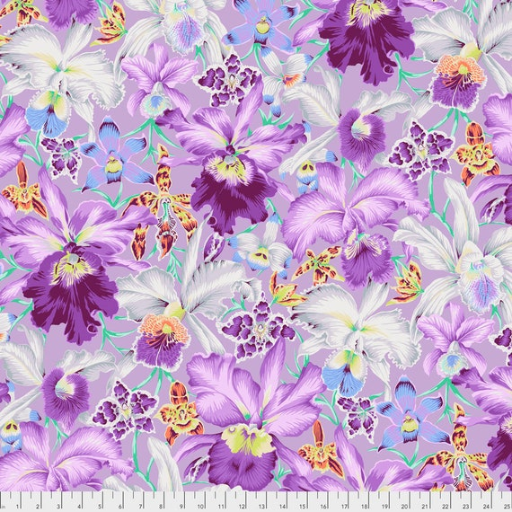 ORCHIDS COOL Philip Jacobs Kaffe Fassett Collective  -  1/2 yd - Multiples cut continuously - Multiples cut as one length