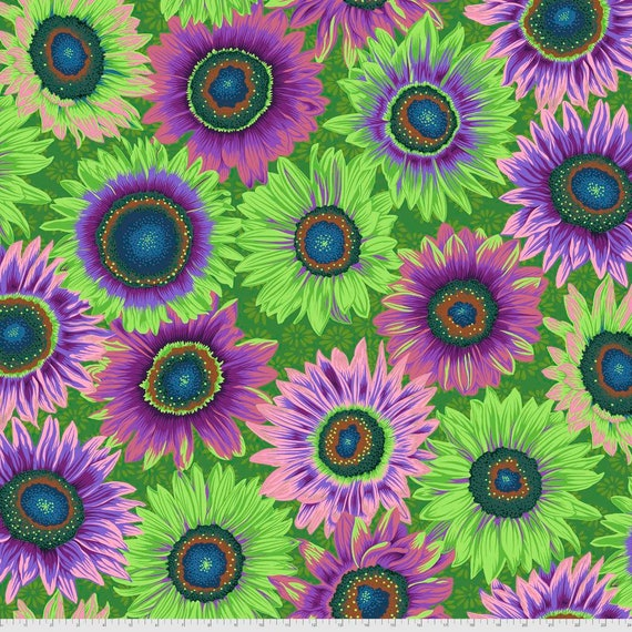 VAN GOGH GREEN Philip Jacobs Kaffe Fassett Collective - - Sold in 1/2 yd increments  - Multiples cut continuous