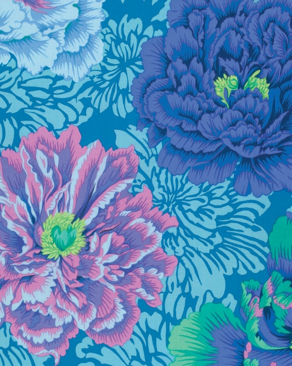 BROCADE PEONY AQUA Philip Jacobs for Kaffe Fassett Collective Sold in 1/2 yd increments