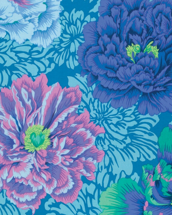 BROCADE PEONY AQUA Philip Jacobs for Kaffe Fassett Collective  1/2 yd - Multiples cut continuously