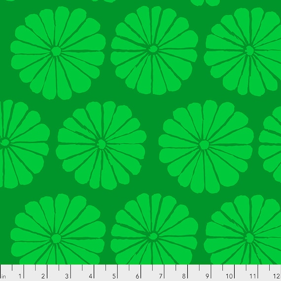 DAMASK FLOWER Lime pwgp183 - Kaffe Fassett Collective  Sold in 1/2 yd increments