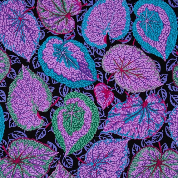 BIG LEAF Purple PJ070 Philip Jacobs  Kaffe Fassett Sold in 1/2 yard increments