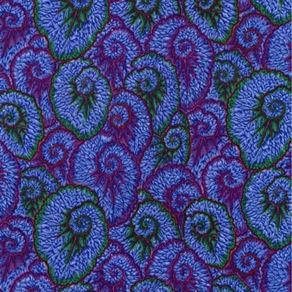CURLIQUE BLUE PWPJ087 Philip Jacobs for Kaffe Fassett Collective  1/2 yd - Multiples cut continuously