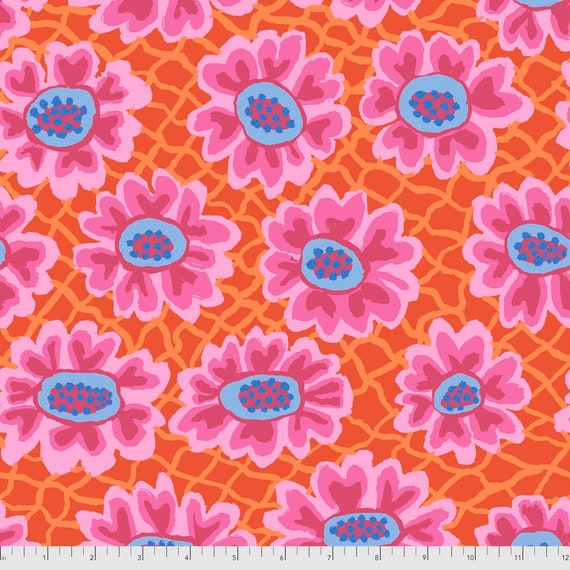 FLOWER NET RED Brandon Mably Kaffe Fassett Collective  - Sold in 1/2 yd increments  - Multiples cut continuous