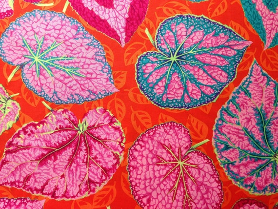 BIG LEAF Pink PJ070 Philip Jacobs  Kaffe Fassett Sold in 1/2 yard increments