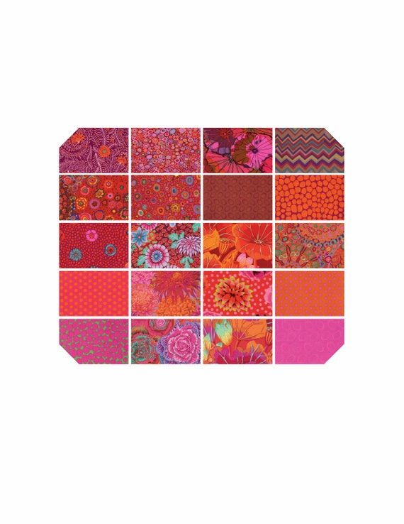 "KAFFE FASSETT LIPSTICK 5"" Charm Pack Warm Red  ""Classics"" collection"