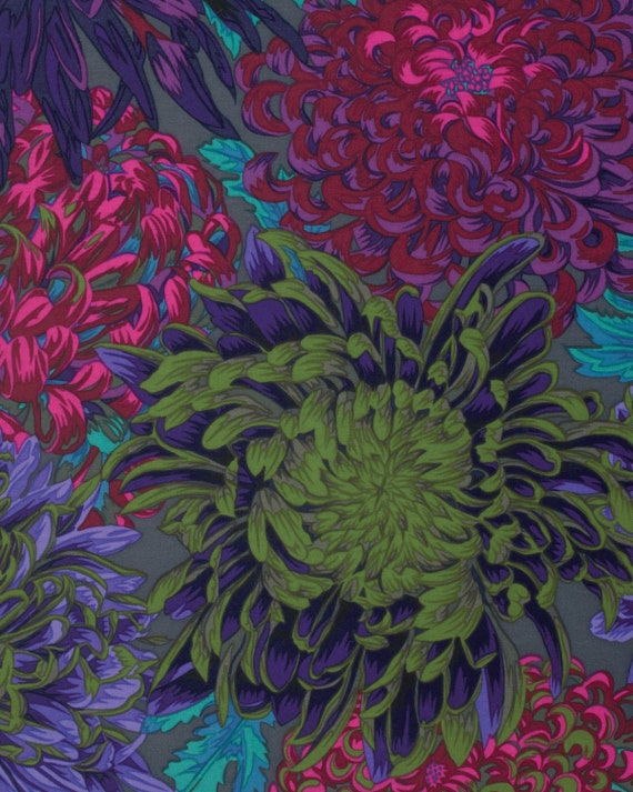 JAPANESE CHRYSANTHEMUM ANTIQUE Fall 2015 Philip Jacobs for Kaffe Fassett Collective  1/2 yd - Multiples cut as one length