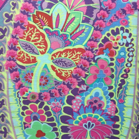 PAISLEY JUNGLE Gray Grey  Kaffe Fassett Sold in 1/2 yd increments