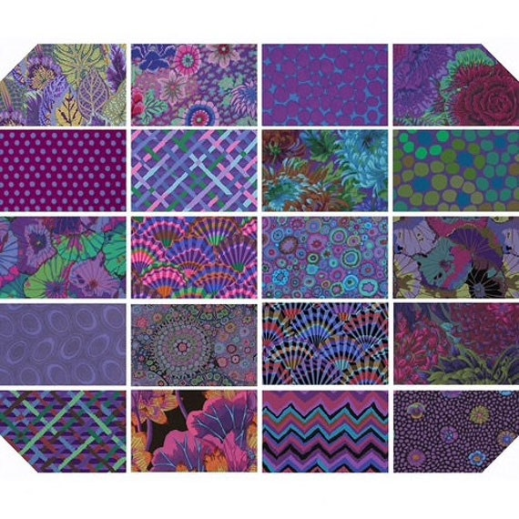 "Pre-Order 2021  EMPEROR Purple Classics Pre-Cut Kaffe Fassett Collective  5"" 10"" Design Jelly Roll Fat Quarter"