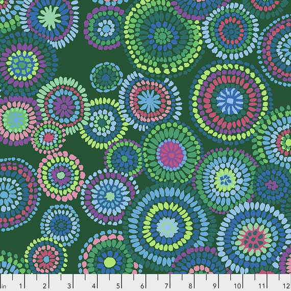 MOSAIC CIRCLES Green PWGP176  Kaffe Fassett -  1/2 yd - Multiples cut one length  - USA based retailer