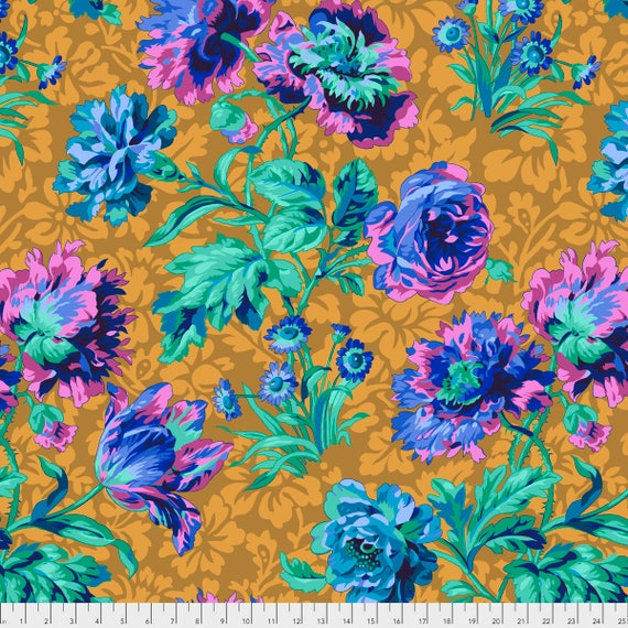 BAROQUE FLORAL Blue Philip Jacobs PWPJ090.BLUEX Kaffe Fassett Collective  1/2 yd - Multiples cut as one length