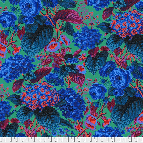 ROSE AND HYDRANGEA Blue pwpj097 Philip Jacobs Kaffe Fassett Collective - Sold in 1/2 yd increments - Multiples cut in one length