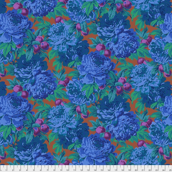 1/2 yd LUSCIOUS BLUE PWPJ011 Philip Jacobs Kaffe Fassett Collective - Sold in 1/2 yd increments - Multiple units cut as one length