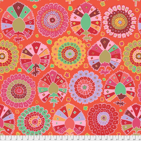 TURKISH DELIGHT RED Kaffe Fassett  -  1/2 yd - Multiples cut continuously - Multiples cut in one length