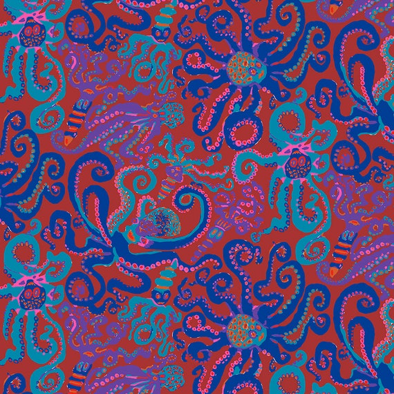 OCTOPUS RED pwbm074 Brandon Mably - Sold in 1/2 yd units - Multiple units cut one length