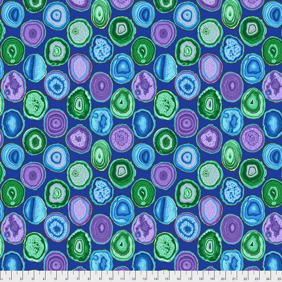 GEODES BLUE pwpj099 Philip Jacobs Kaffe Fassett Collective - Sold in 1/2 yd increments - Multiples cut in one length