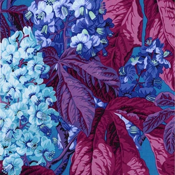 HORSE CHESTNUT Blue Philip Jacobs Kaffe Fassett Collective Sold in 1/2 yd increments