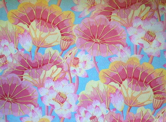 LAKE BLOSSOMS Pink  Kaffe Fassett Collective - Sold in 1/2 yd increments - Multiple units cut as one length