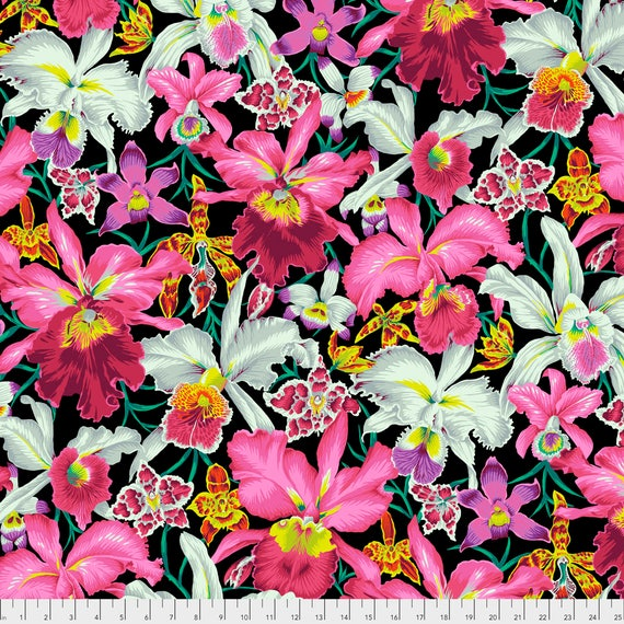 ORCHIDS Black Philip Jacobs PWPJ092.BLACK  Kaffe Fassett Collective Sold in 1/2 yd increments Item