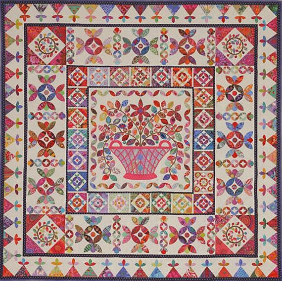 FLOWER BASKET MEDALLION Pattern   Kim McLean - Appliqué