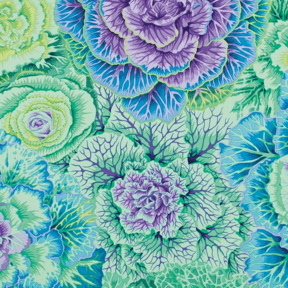 BRASSICA GREEN PJ51 Philip Jacobs Kaffe Fassett Collectives  1/2 yd - Multiples cut continuously