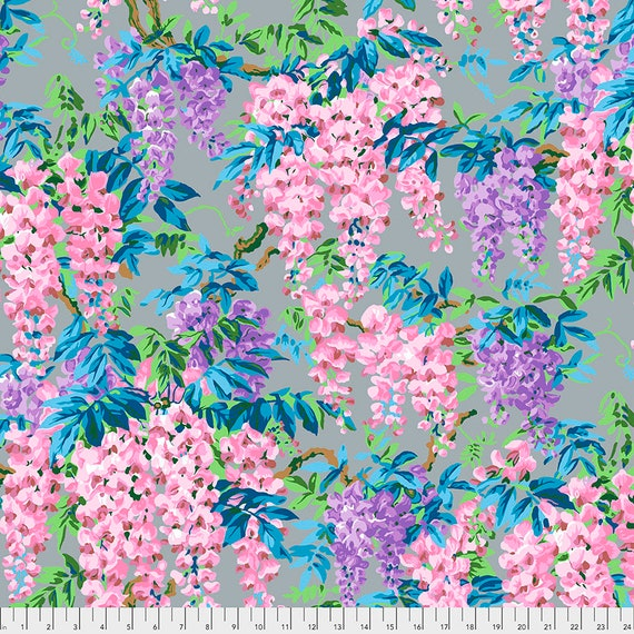 WISTERIA GREY Gray Philip Jacobs  - Kaffe Fassett Collective - Sold in 1/2 yd increments - Multiple units cut as one length