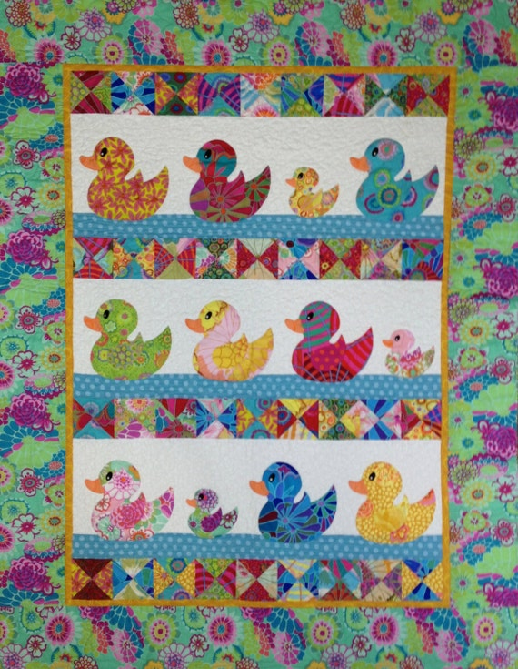 JUST DUCKY Baby Quilt Kit with Hard Copy Pattern - Kaffe Fassett Collective Fabrics