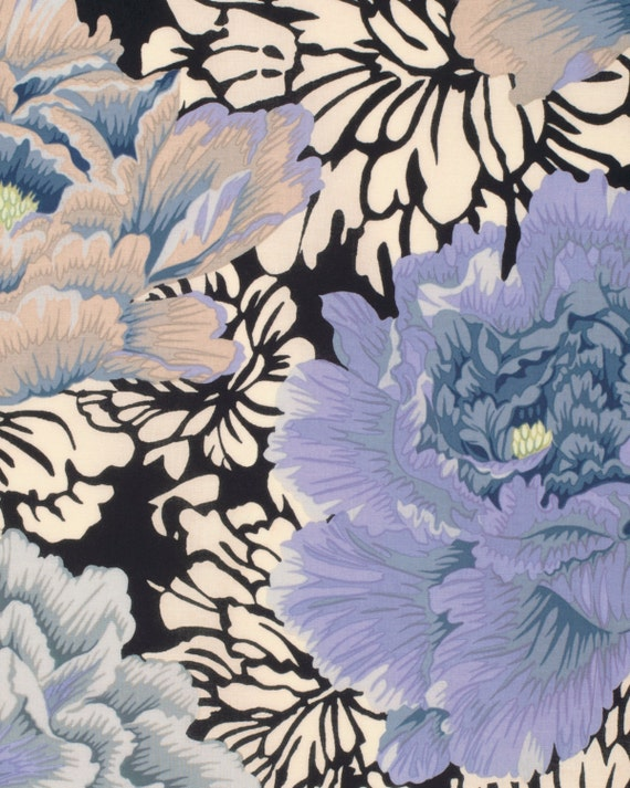 BROCADE PEONY GREY Gray Philip Jacobs Kaffe Fassett Collective Sold in 1/2 yd increments