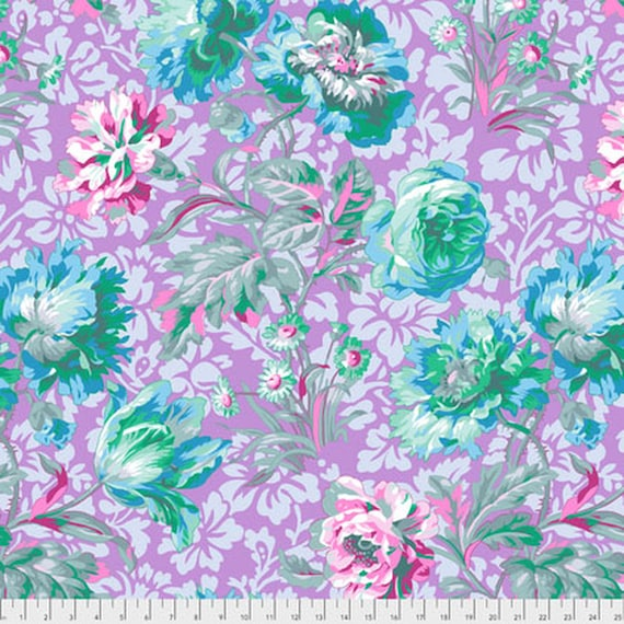 1/2 yd  BAROQUE FLORAL Lavender  OOP  Philip Jacobs - Kaffe Fassett Collective  - Multiples cut as one length