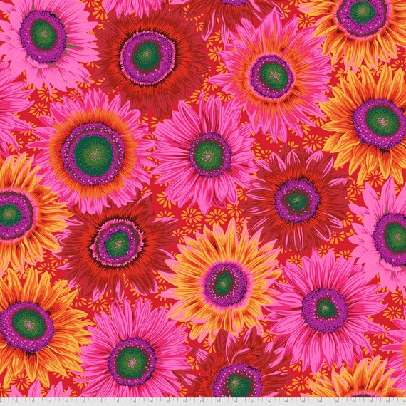 VAN GOGH RED Philip Jacobs Kaffe Fassett Collective - - Sold in 1/2 yd increments  - Multiples cut continuous