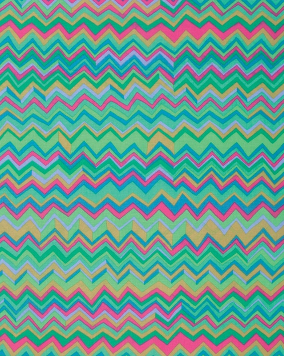 ZIG ZAG AQUA  Fall 2015 Brandon Mably for Kaffe Fassett Collective Sold in 1/2 yd increments