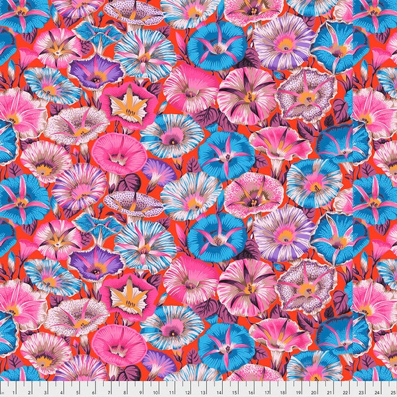 VARIEGATED MORNING GLORY Red pwpj098 Philip Jacobs Kaffe Fassett Collective -  1/2 yd - Multiples cut continuously - Multiples cuts one