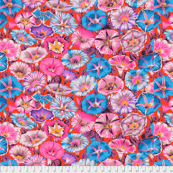 Pre-Order - VARIEGATED MORNING GLORY Red pwpj098 Philip Jacobs Kaffe Fassett Collective - Sold in 1/2 yd increments - Multiples cuts one