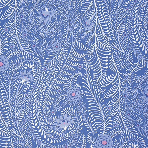 FERNS PERIWINKLE Blue  PWGP147  Kaffe Fassett - Sold in 1/2 yd increments - Multiple units cut as one length