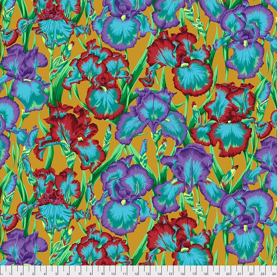 BEARDED IRIS OCHRE August 2020 Philip Jacobs  PWPJ105 - Kaffe Fassett Collective - Sold in 1/2 yd units - Multiples cut one length